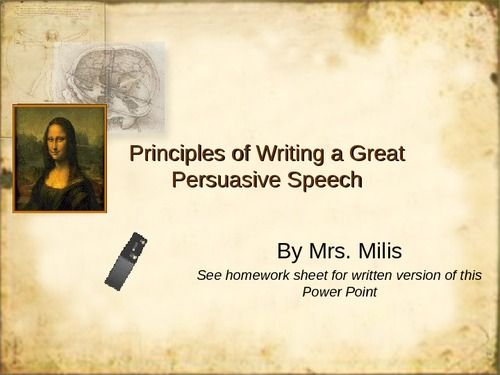 This Slideshare focuses on how to best give a persuasive speech. Just like you would in a written essay, make sure you use specific examples to support your thesis that your audience will understand.