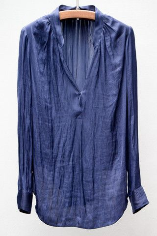 Dark Blue Liquid Satin Tunic Top