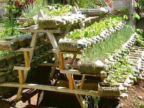 Maceteros hechos con botellas plasticas