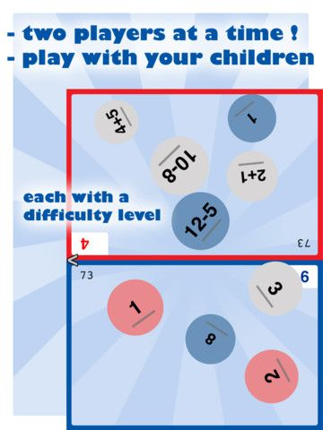 Math Party is a multiplayer mental math game for all from 5 years old.    The screen is split in two for each player.  Each player chooses its difficulty level, so children can play against their parents.