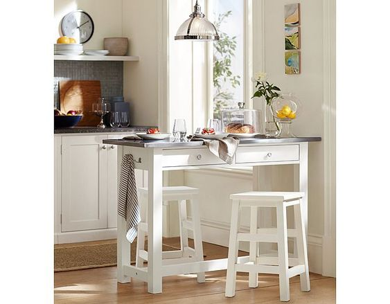 Small space kitchen breakfast bar pottery barn home for Eating tables for small spaces