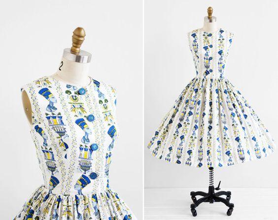r e s e r v e d - vintage 1950s dress / 50s dress / Egyptian Nefertiti Novelty Print Blue and White Party Dress