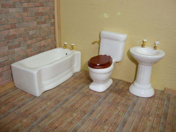 Dollhouse Miniature 1 12 Bathroom Tub Sink Toilet Set Porcelain Set  M9062   TownSquareMiniatures. Dollhouse Miniature 1 12 Bathroom Tub Sink Toilet Set Porcelain