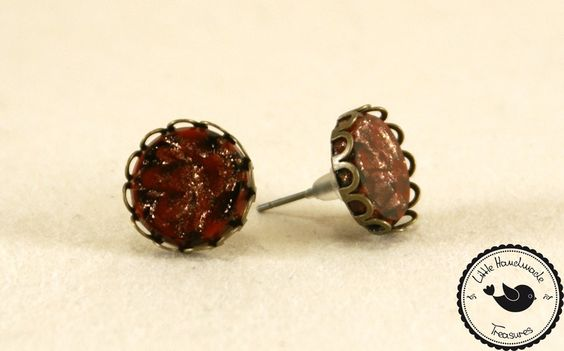 Ohrstecker ❃ Rot- Gold ❃ von Little Handmade Treasures auf DaWanda.com