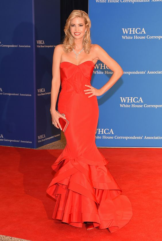 Ivanka Trump dazzled in a strapless red gown and megawatt jewels.