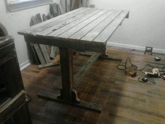 Reclaimed deck board farm table 375 handmade rustic for Cheap decking boards b q