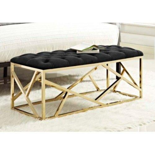 Astonishing Black Velvet Tufted Gold Geometric Base Bench Footstools Bralicious Painted Fabric Chair Ideas Braliciousco