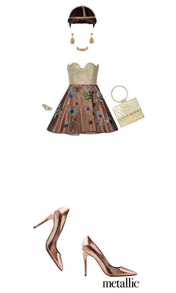 """""""The Bronze Age"""" by kathyaalrust ❤ liked on Polyvore featuring Delpozo, Marina B, Alexander Wang, Chanel and metallicdress"""