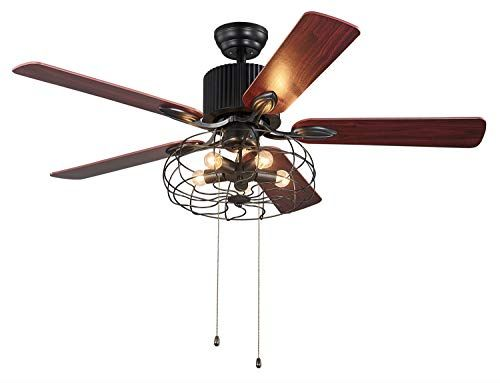 Lampsmore Indoor Ceiling Fans 52 Inch 5 Blades With Pull Chain Control Ceiling Fans 5 E26 Light Bulbs Needed Not Incl Ceiling Fan Pull Chain Light Bulbs 52 inch ceiling fan with light