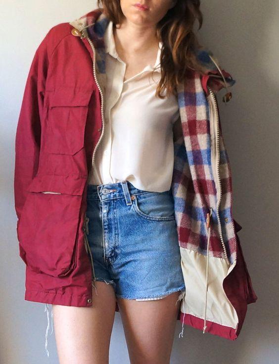 Vintage 70s L.L. Bean Rain Coat // Burgundy Flannel Lined Jacket ...