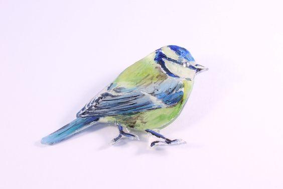 Blue tit brooch