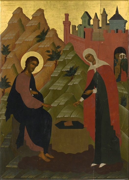 Russian icon of Christ and the Samaritan woman (early 20th century)
