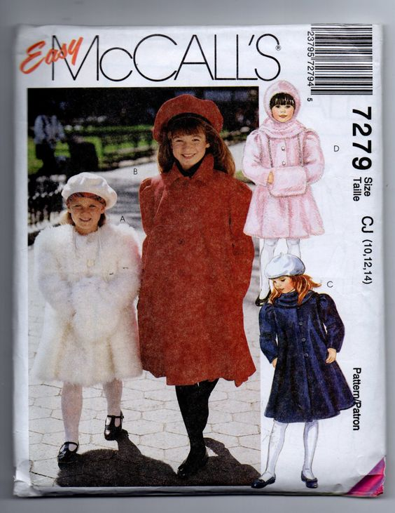 UNCUT 7279 Easy McCalls Sewing Pattern Girls Lined Coat Muff & Hooded Scarf by KarlasPatterns on Etsy