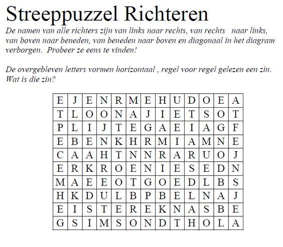 streeppuzzel richteren bijbel puzzels