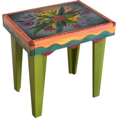 Rectangular End Table Lovely Colorful Floral Painted Furniture