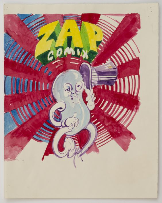 Victor Moscoso_ Color study for cover of Zap Comix no. 4, 1969 Watercolor on paper 14 x 11.25 inches (35.6 x 28.6 cm) Inv #VM7441