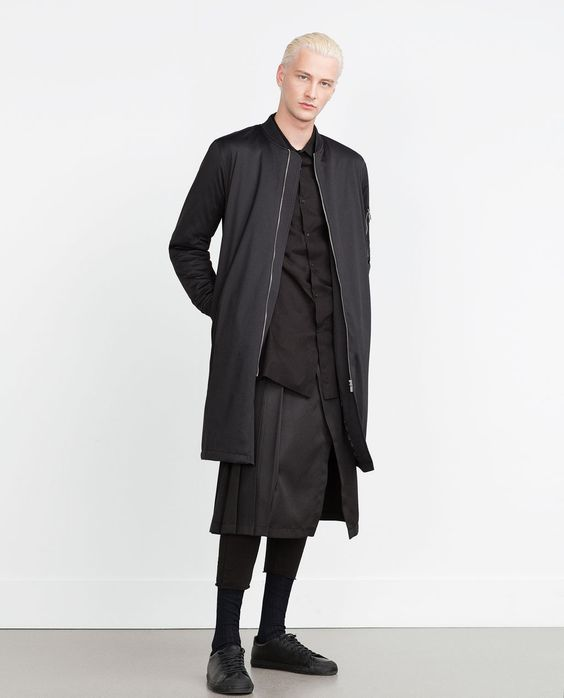 Image 1 of LONG BOMBER JACKET from Zara | outfit | Pinterest ...