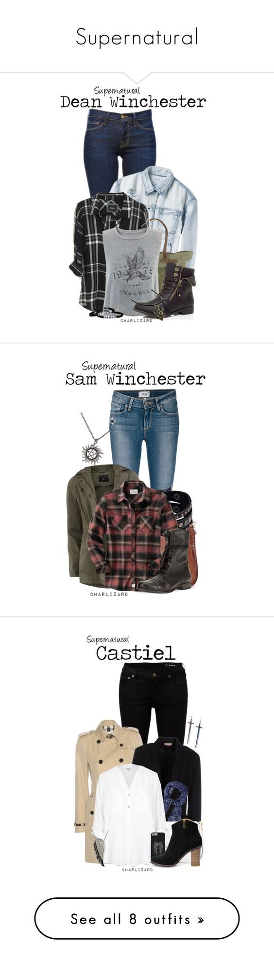 """Supernatural"" by charlizard ❤ liked on Polyvore featuring Frame Denim, RVCA, Will Leather Goods, Rails, supernatural, DeanWinchester, spn, winchesters, Paige Denim and Dorothy Perkins"