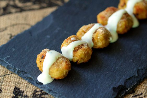 Parmesan Sweet Potato Tots with Buttermilk Chive Dressing