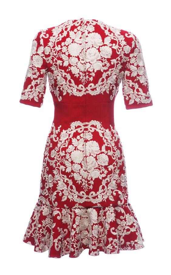 Embroidered Cady Flounce Hem Dress by Dolce & Gabbana for Preorder on Moda Operandi