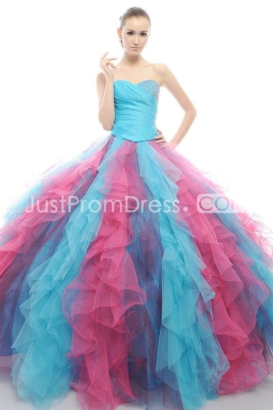 Colorfull Ball Gown Strapless Floor-length Quinceanera Dresses