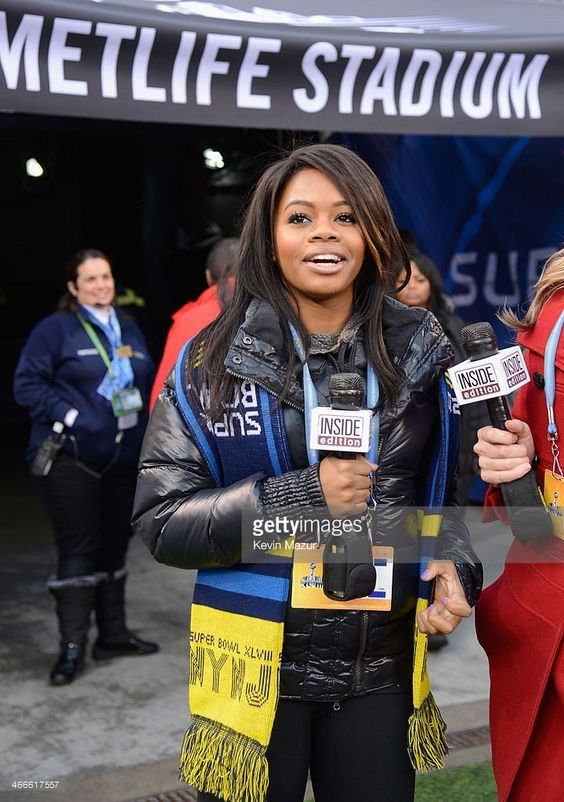 Olympic gymnast Gabby Douglas attends the Pepsi Super Bowl XLVIII Pregame Show at MetLife Stadium on February 2, 2014 in East Rutherford, New Jersey.
