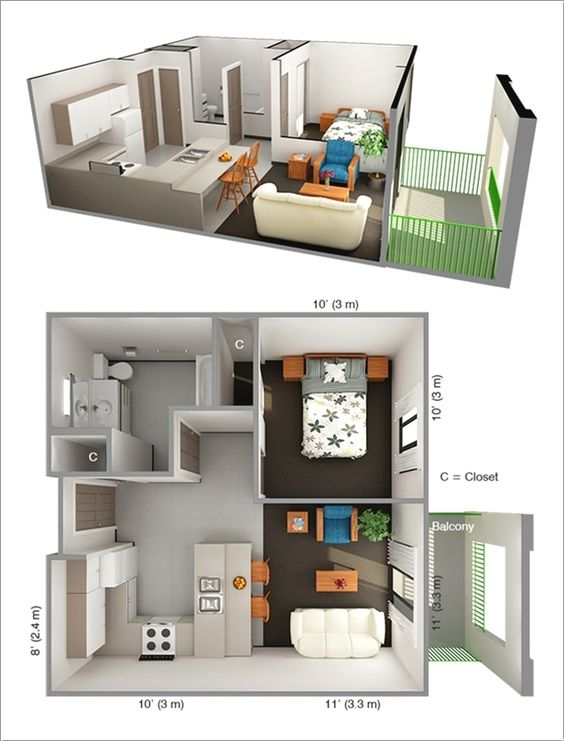 Small One Bedroom Apartment Floor Plans pinwww.detaildesigngroup | small quarters | pinterest