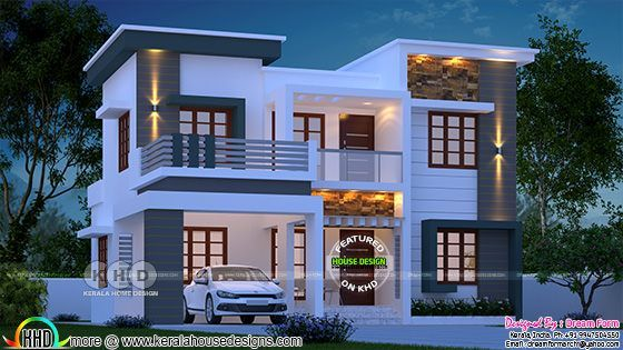 1780 Square Feet 4 Bedroom Modern Home In Kerala Exterior House Remodel Kerala House Design New House Plans