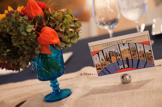 Postcard Table Numbers 550x365 Fun and Quirky Baltimore Wedding Reception: Ilissa + Lisa
