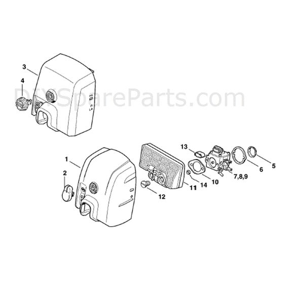 Stihl Ms 290 Chainsaw Ms290 Parts Diagram Carburetor Box Cover Air Filter Stihl Covered Boxes Diagram