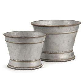 - Galvanized - New! - PARIS FOOTED ROUND FLOWER BUCKETS