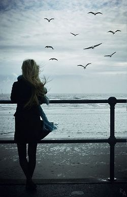 Bird watching sky girl ocean clouds birds alone fly windy