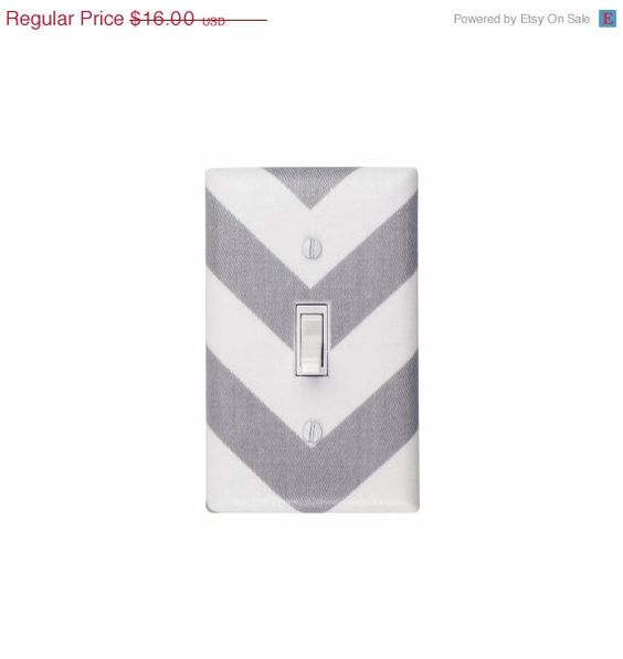 HOLIDAY SALE Chevron Light Switch Plate Cover / Gray by SSKDesigns, $14.00