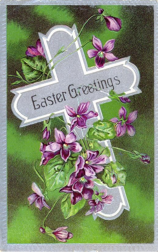 Vintage Easter Religious Dove Greetings Postcard Card Victorian - free printable religious easter cards