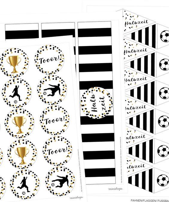 Fußball Party Deko zum Ausdrucken * Topper Flaschenlabel * Fußball Printables Gratis Vorlagen für die Fußballparty * Kicker, Pokal, tolle Topper und Label *