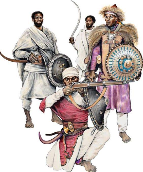 ETHIOPIAN WARRIORS 1:Infantry swordsmen.2:Infantry officer,Tigre.3:Amhare rifleman,Shewa.
