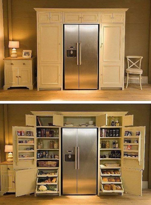 This Built In Pantry Surrounding The Refrigerator Is Amazing Why Didn T I Think Of This Functional Kitchen Design Kitchen Remodel Small Home Decor Kitchen