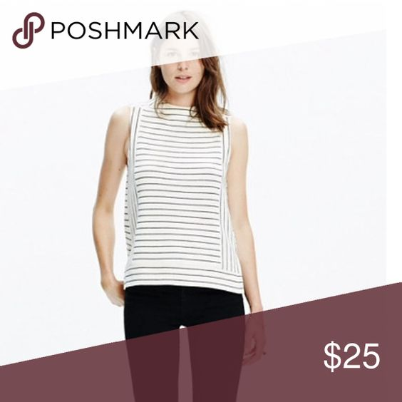 Madewell Sleeveless Funnelneck Top Mod little top from Madewell.  Size XS.  Slight mock neck with black stripes on off white. Madewell Tops Tank Tops