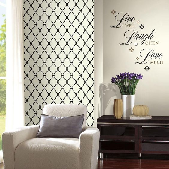 Wall In A Box Live Laugh Love Accent Wall, Black