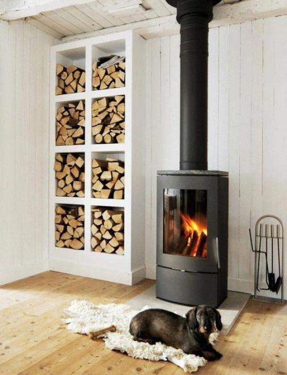 firewood white shelves near the wood burner #fireWoodStorage #firewoodrack #firewood #firewoodideas #organization #shelves  #wallStorage