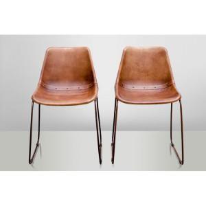 Chaise cuir marron et structure acier - Mon Chalet Design