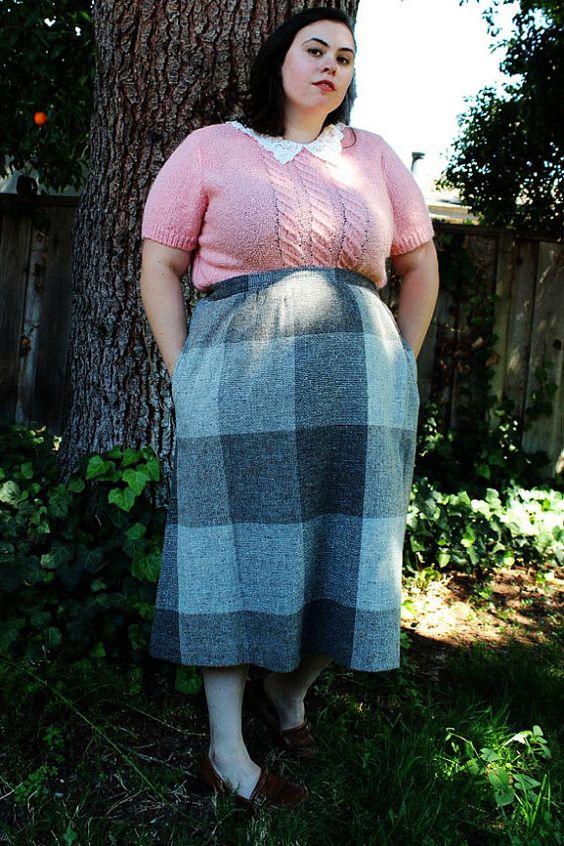 Plus Size - Vintage Tweed Plaid Skirt (Size 18) | Tweed, Plus size ...