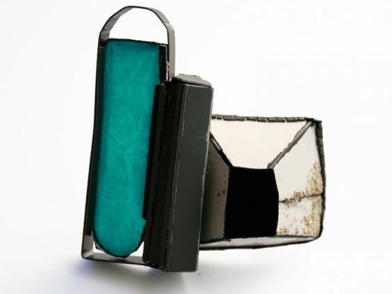 "Silvia Walz Brooch ""Finestra 1"" - steel, transparent and opaque enamel - 70x70x15 mm"