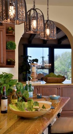 Tuscan style wood counter and light fixtures on pinterest for Tuscan style kitchen lighting