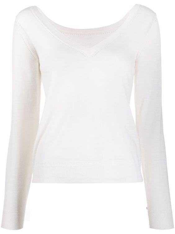 P.A.R.O.S.H. V-neck perforated knit top - White