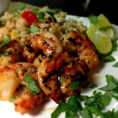 Thai Chili Lemongrass Grilled Shrimp with Sweet Basil & Lime Fried Rice