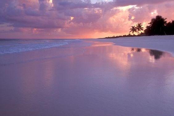 Cancun beach at sunset
