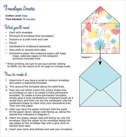 How To Make Envelope Liners Envelope Liner Template Envelope