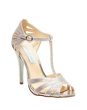 Silver T strap peeptoe sandals