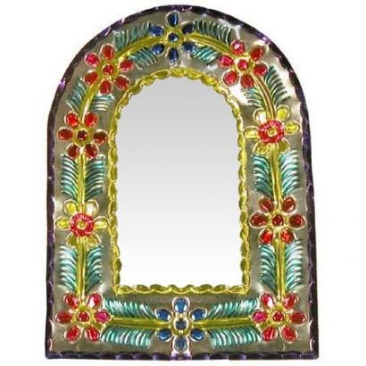 :D ❤️Mexico has long been known for its colorful and uniquely original tin mirror frames, and this darling Arched mirror proves precisely why.  Hand-punched and hand-painted in Oaxaca, Mexico.